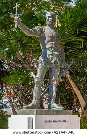 Santarem, Portugal. September 11, 2015: Pedro Alvares Cabral statue, placed in front of the Graca Church, where the navigator, sea explorer and discoverer of Brazil is buried. - stock photo