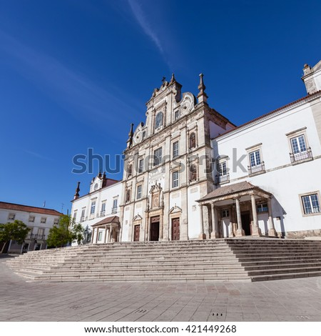 Santarem See Cathedral aka Nossa Senhora da Conceicao Church built in the 17th century Mannerist style. Portugal - stock photo