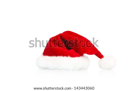 santas hat on white background - stock photo