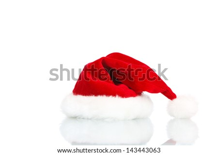 santas hat on white background