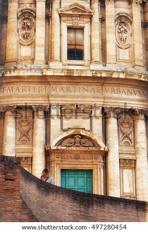 Santi Luca e Martina church details, Roman Forum, Italy