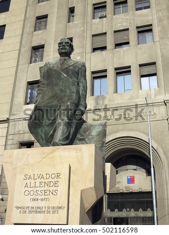 SANTIAGO, CHILE - DEC 14, 2013 - salvador allende monument of president ousted in 1973