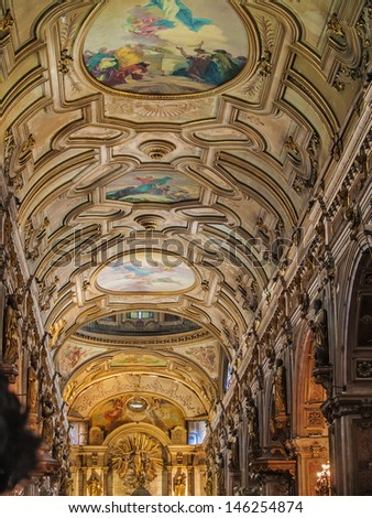 SANTIAGO, CHILE - FEBRUARY 15: Metropolitan Cathedral of Santiago vaulted ceiling on February 15, 2011 in Santiago, Chile. Built in 1748 - 1800 by Joaquin Toesca Ricci architect in neoclassical style - stock photo