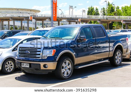SANTIAGO, CHILE - NOVEMBER 24, 2015: Pickup truck Ford F-150 in the city street. - stock photo