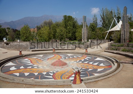 SANTIAGO, CHILE - NOVEMBER 19, 2014: Villa Grimaldi in Santiago, Chile. Memorial park to those who were detained and tortured during the 1970's on this site during the military dictatorship.