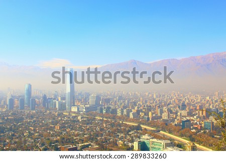 Santiago, chile. View from Cerro San Cristobal. In the background, the Andes mountains.