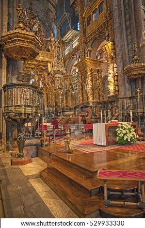 SANTIAGO DE COMPOSTELA, SPAIN - 29 JUNE, 2010: Interior of the famous Cathedral of Santiago de Compostela in Spain on 29 June, 2010.