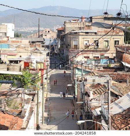 Santiago de Cuba - aerial view of city streets. Square composition. - stock photo