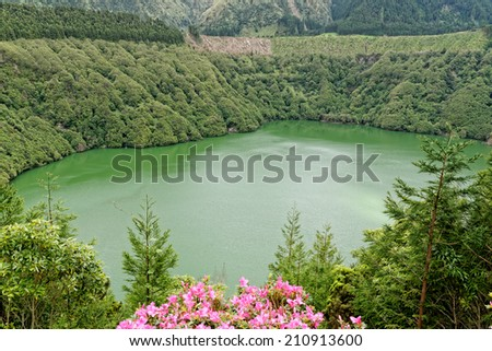 Santiago lagoon on the island of Sao Miguel, Azores, Portugal