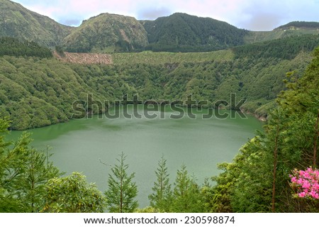 Santiago lagoon on the island of Sao Miguel, Azores, Portugal - stock photo