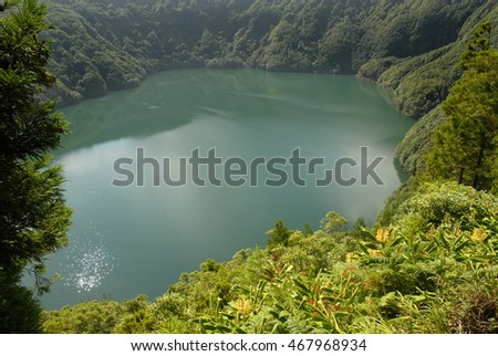 Santiago lake (Lagoa de Santiago) in Sete Cidades area, on the Portuguese island of Sao Miguel in the Azores