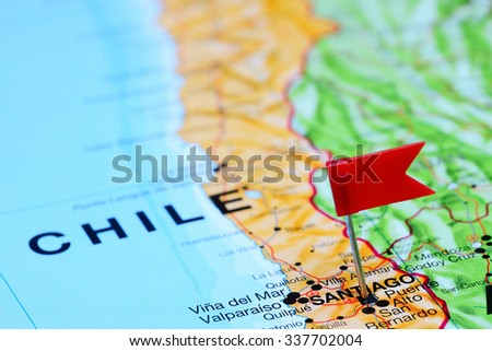 Santiago pinned on a map of Chile  - stock photo