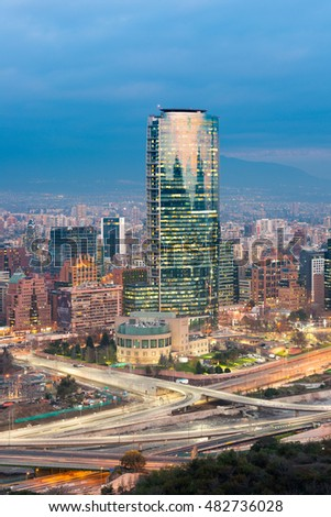 Santiago, Region Metropolitana, Chile - July 14, 2016: A view of modern buildings at the wealthy financial district popularly know as Sanhattan, in Vitacura, Providencia and Las Condes districts.