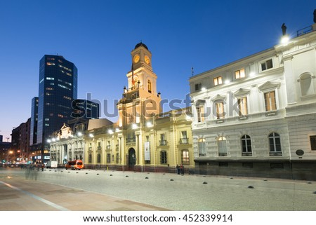 Santiago, Region Metropolitana, Chile - June 06, 2016: A view of buildings around Plaza de Armas, the main square of Santiago de Chile.