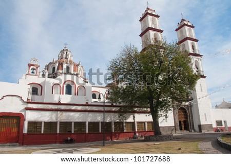 Santo angel Custodio church, Analco (Puebla-Mexico) - stock photo