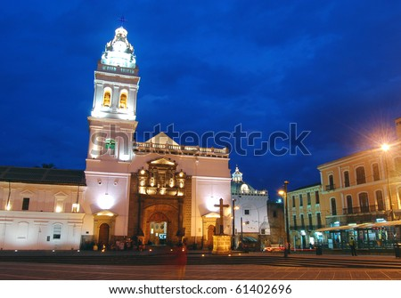 Santo Domingo church in downtown Quito, Ecuador, at dusk. - stock photo