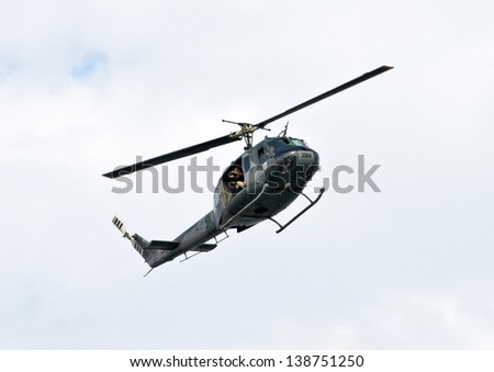 SANTO DOMINGO, DOMINICAN REPUBLIC - MARCH 3: Unidentified Helicopter and crew recording the 2013 National Carnival on March 3, 2013 in Santo Domingo, Dominican Republic.