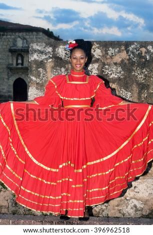 SANTO DOMINGO, DOMINICAN REPUBLIC - NOV 23 Unidentified folkloric dancer ready to perform in the public Colonial Festival on November 23, 2013 in Sto. Domingo, Dominican Republic - stock photo
