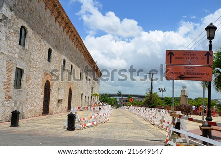 SANTO DOMINGO - September 6, 2014: Old street in Santo Domingo, Dominican Republic.
