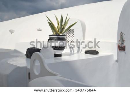 Santorini Architecture Details - stock photo
