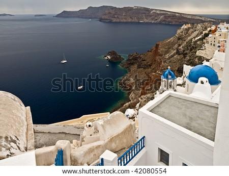 Santorini bay - stock photo