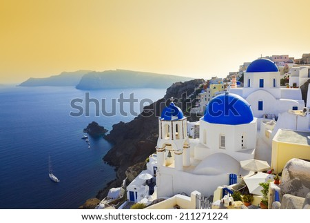 Santorini church (Oia), Greece - vacation background - stock photo
