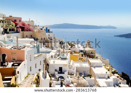 SANTORINI, GREECE - August 07, 2012: Beautiful architecture of Oia town on Santorini island in Greece. Santorini is one of the most popular tourist destinations in Greece.