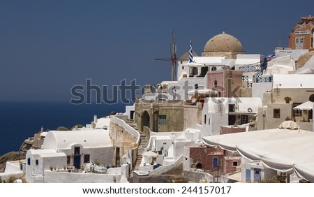 SANTORINI, GREECE - AUGUST 3, 2013: Oia, Santorini, Greece. Santorini - one of the most visited places in Greece