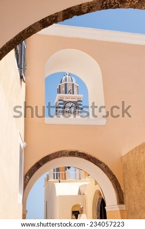 SANTORINI, GREECE, AUGUST 23: The Catholic Cathedral St. John the Baptist on August 23, 2014 in Fira. Fira is the main stunning town on Santorini, member of the Cyclades islands, Aegean sea.