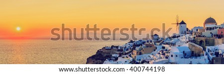 Santorini, Greece - Oia at sunset, panorama