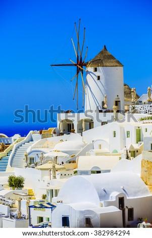Santorini, Greece - Oia village, typical view  - stock photo