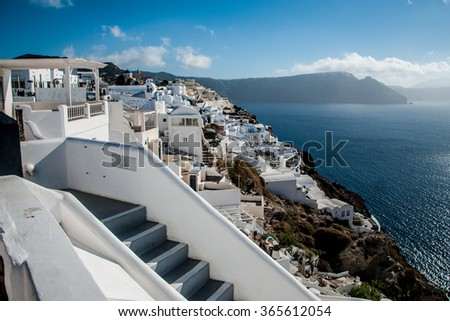 Santorini, Greece. Taditional white architecture of Oia.