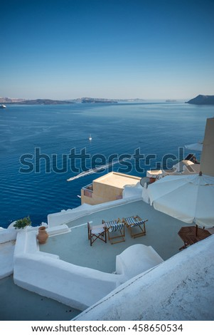 Santorini Greece Traditional And Famous Island In Aegean Sea