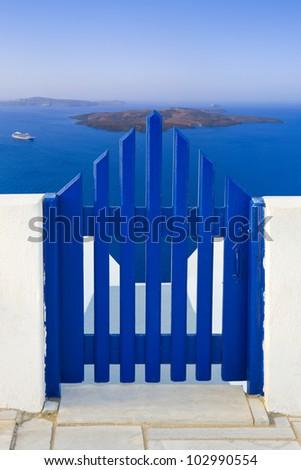 Santorini (Greece) - view to volcano  - vacation background - stock photo