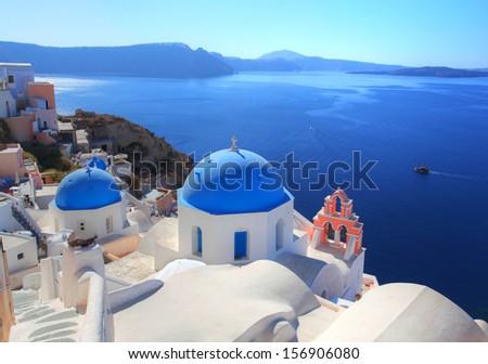 Santorini in Greece - stock photo