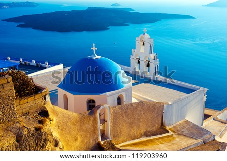 Santorini is the most beautiful island of the Greek islands - stock photo