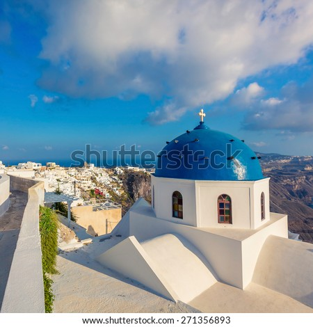 Santorini Island blue dome church view, Greece