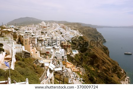 Santorini Island, GREECE - MAY 12, 2014: View on Thira town and sea in Santorini Island, Greece.