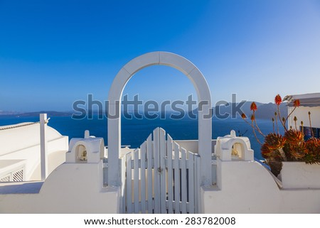 Santorini island in Cyclades, classical view of sights in fira