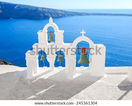 Santorini island in Greece. Caldera summer sunny - stock photo