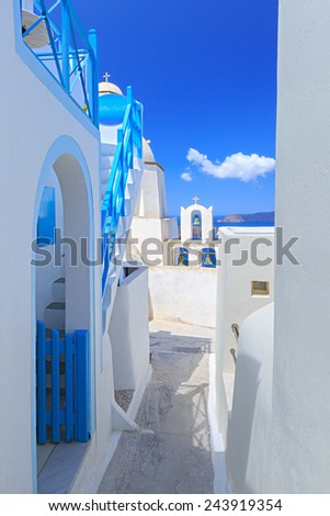 Santorini island in Greece. door - stock photo