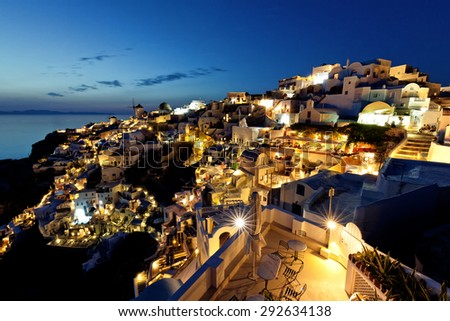 santorini island oia night view - stock photo