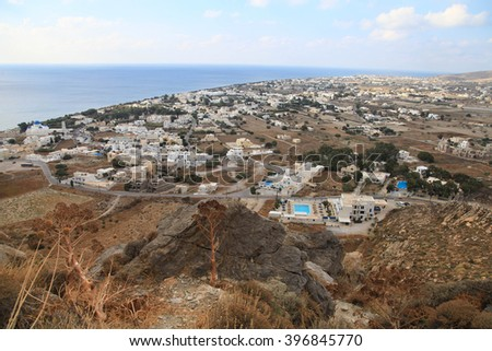 Santorini island, Perissa, view from the top - stock photo
