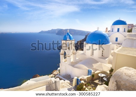 Santorini landscape with greek bell tower, Oia, Greece