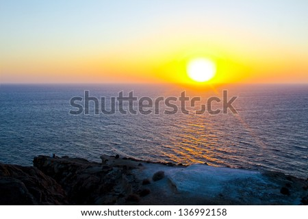 Santorini's sunset - stock photo