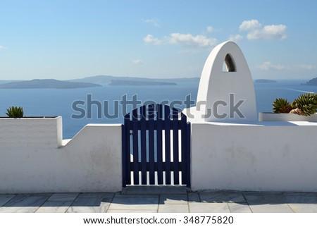 Santorini Street Scene with Blue Gate - stock photo