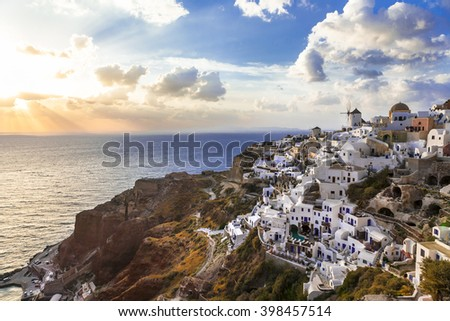 Santorini sunset, Oia village, Greece - stock photo