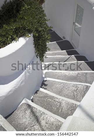 santorini typical stairs