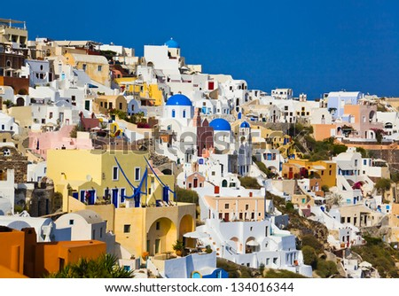 Santorini view (Oia), Greece - vacation background - stock photo