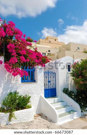 Santorini village - stock photo